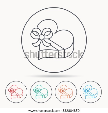 Love gift box icon. Heart with bow sign. Linear circle icons. - stock vector