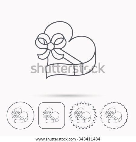 Love gift box icon. Heart with bow sign. Linear circle, square and star buttons with icons. - stock vector