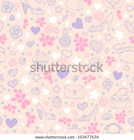 Love girly seamless pattern in pink and violet colors - stock vector