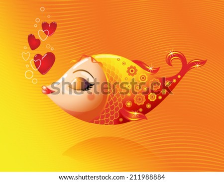 love goldfish on a gold background
