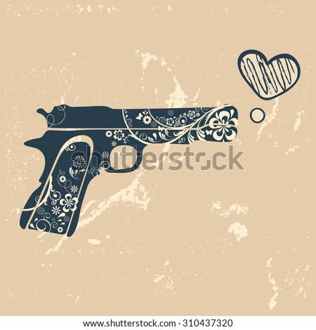 Love gun. Vintage emblem with gun shooting a heart. vector illustration - stock vector