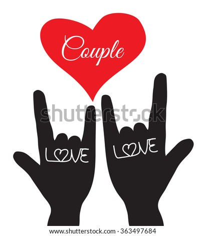 Love hand sign. Love symbol. Couple, Lover. Vector illustration - stock vector