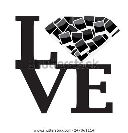 LOVE Happy Valentine's Day - stock vector