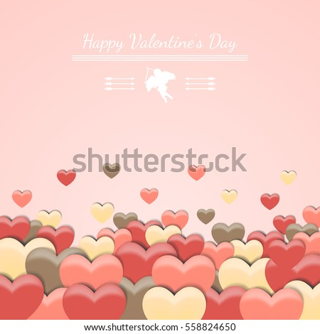 Love Happy Valentines Day Pink Background Stock Vector 558824650 ...