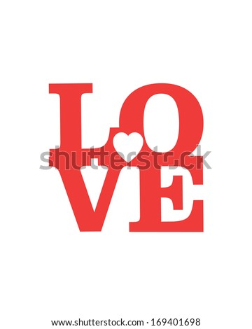 LOVE Happy Valentines day card, Font Type - stock vector