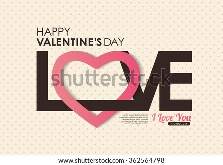 LOVE Happy Valentines day card ,Font type,vector background - stock vector