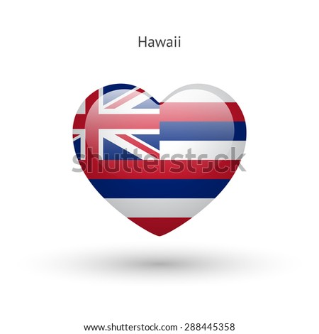 Love Hawaii state symbol. Heart flag icon. Vector illustration. - stock vector