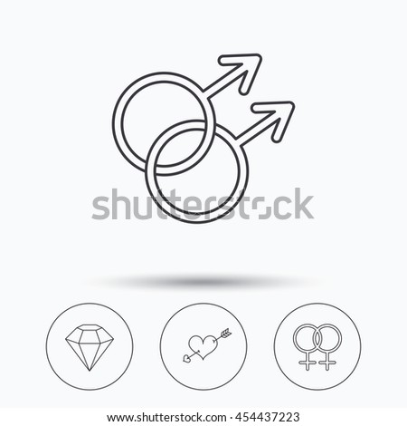 Love heart, diamond and lesbian love icons. Gay love linear sign. Linear icons in circle buttons. Flat web symbols. Vector