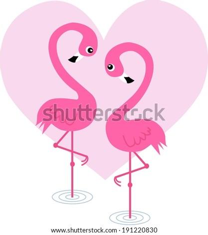 love heart flamingo honey moon - stock vector
