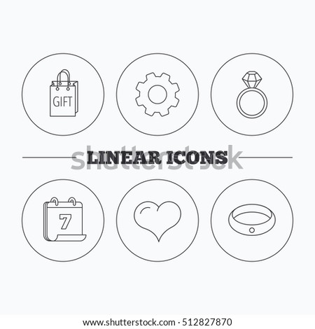 Love heart, gift bag and wedding ring icons. Engagement ring linear sign. Flat cogwheel and calendar symbols. Linear icons in circle buttons. Vector