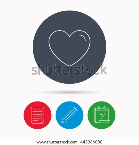 Love heart icon. Life sign. Like symbol. Calendar, pencil or edit and document file signs. Vector - stock vector