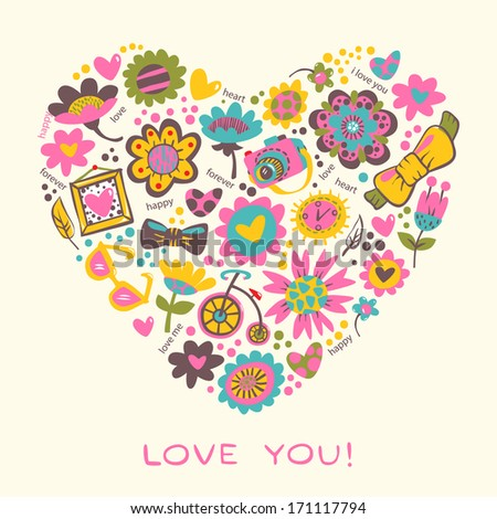 Love Heart made of flowers and fashionable things. Vector illustration.