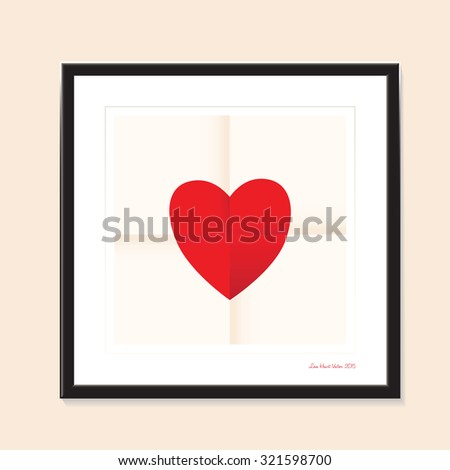 love heart paper and black frame background  - stock vector