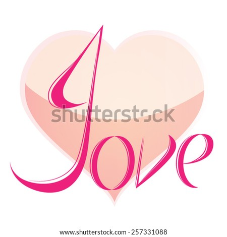 Love heart Set of hand drawn heart and love word - stock vector