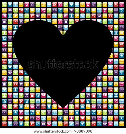 Love heart shape over phone application software icon set background. Vector file layered for easy manipulation and customisation. - stock vector