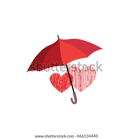Love heart sign over umbrella protection. Two hearts in love icon isolated over white background. Valentine's day greeting card design concept