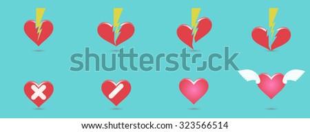 love heart valentine story vector illustration - stock vector