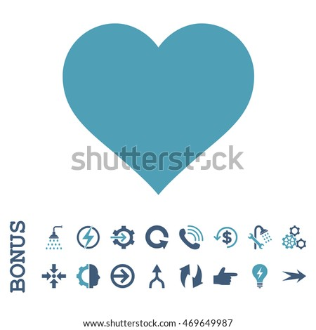Love Heart vector bicolor icon. Image style is a flat iconic symbol, cyan and blue colors, white background.