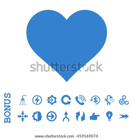 Love Heart vector icon. Image style is a flat iconic symbol, cobalt color, white background.