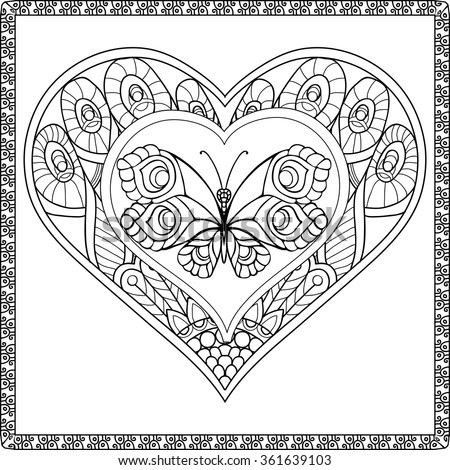 Love Heart With Butterfly Coloring Book For Adult And Older Children Page