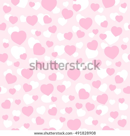 Love Hearths Pink Pattern Seamless Vector Texture Illustration