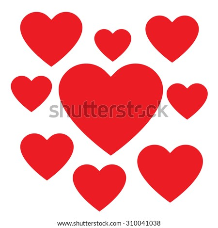 Love hearts, A collection of love hearts, there are small love hearts surrounding a large heart in the center. - stock vector