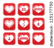 Love hearts buttons set for Valentines Day - stock vector