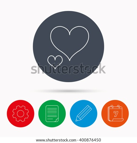 Love hearts icon. Lovers sign. Couple relationships. Calendar, cogwheel, document file and pencil icons. - stock vector