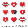 Love hearts labels set for Valentines Day - stock vector
