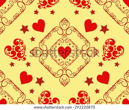 Love hearts. Modern wallpaper background for Your design. Wedding background with heart. Template for design albums, greeting cards, invitations, Web pages, wallpapers for wall. Vector illustration