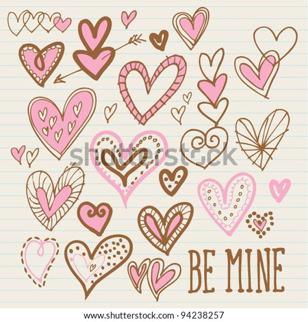 Love hearts vector - stock vector