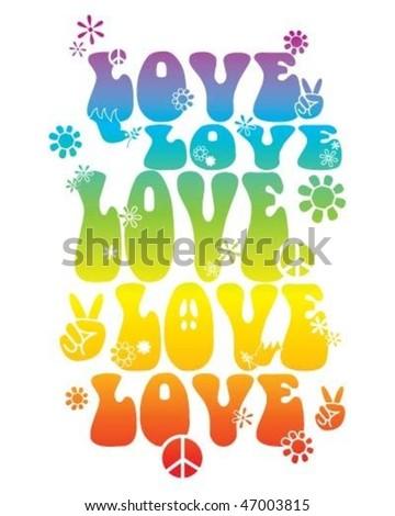 Love hippie style t shirt design - stock vector