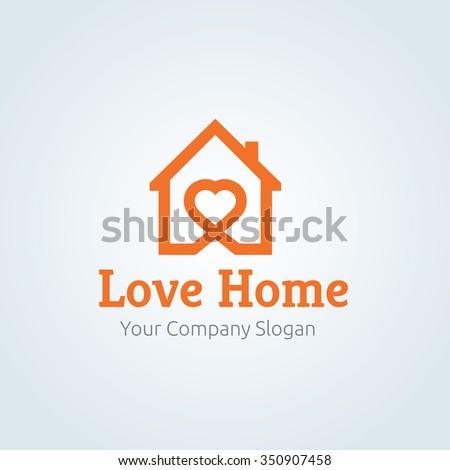 Love Home Logo,Vector logo template - stock vector