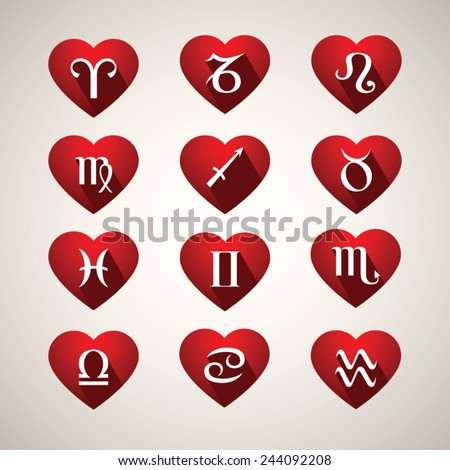 Love horoscope, flat shadow style icons, vector illustration - stock vector