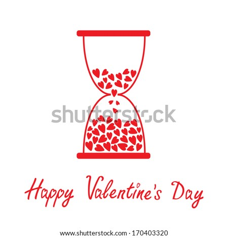 Love hourglass with hearts inside. Happy Valentines Day card.  Vector illustration.  - stock vector