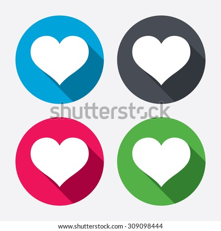 Love icon. Heart sign symbol. Circle buttons with long shadow. Vector - stock vector
