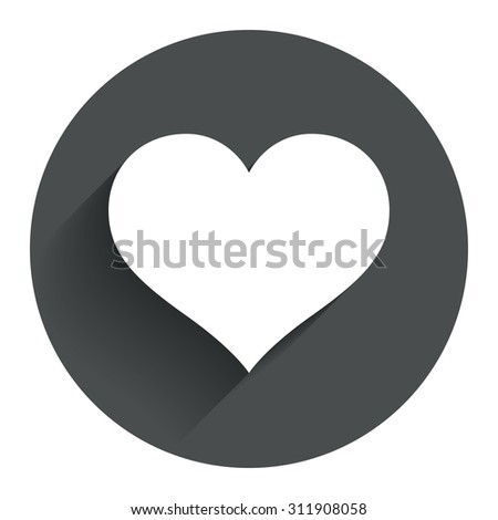Love icon. Heart sign symbol. Circle flat button with shadow. Modern UI website navigation. Vector - stock vector
