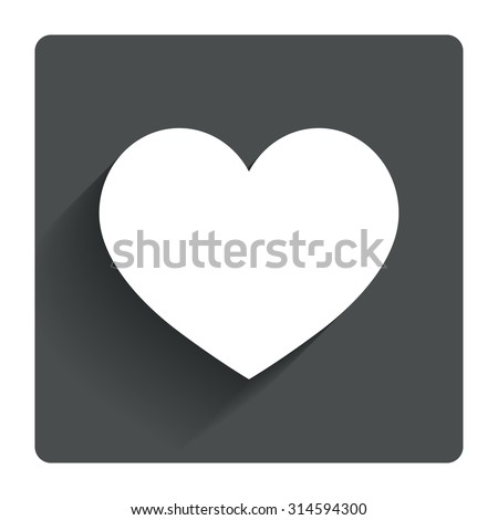 Love icon. Heart sign symbol. Gray flat square button with shadow. Modern UI website navigation. Vector - stock vector