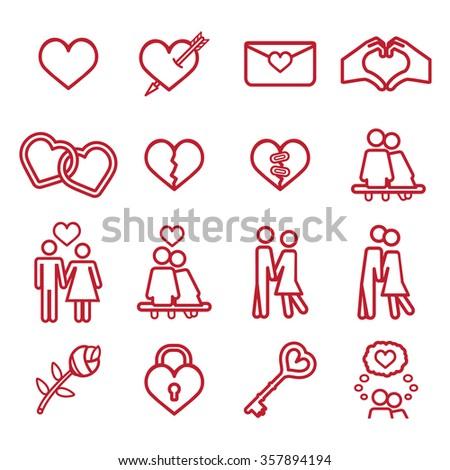 Love icon set. Vector eps10. - stock vector