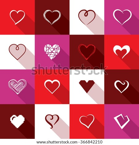 Love icons - stock vector