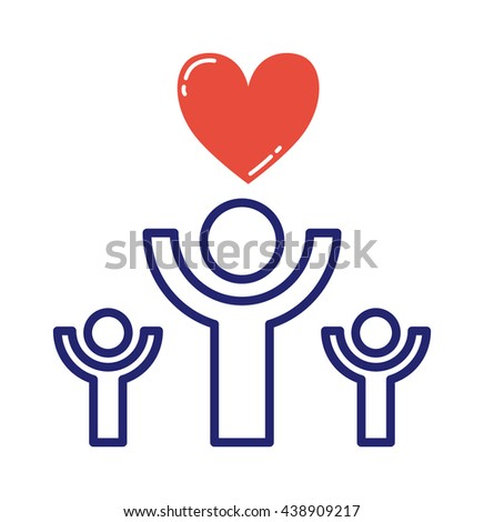 Love icons hands of heart vector illustration