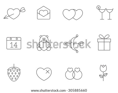 Love icons in thin outlines. Valentine, wedding, engagement. - stock vector