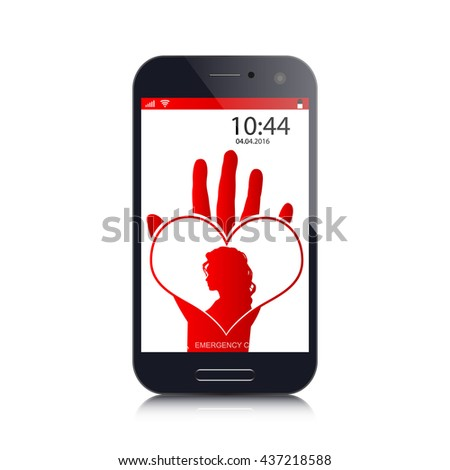 love image on screen phone - stock vector