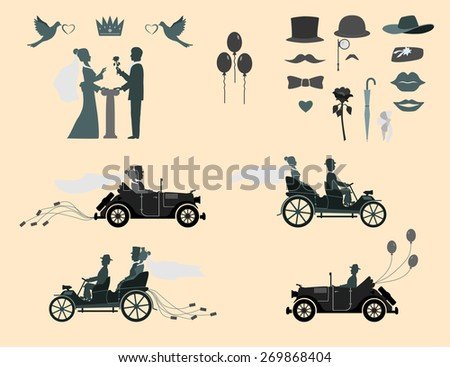 love in all times set of wedding invitations on the vintage cars and sports cars . The groom gives the bride flowers . Different subjects for designers. - stock vector