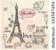 Love in Paris background  - stock