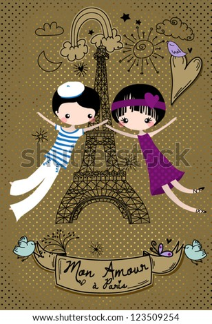 Love in Paris - Cute little couple celebrating their Paris love, doodle-style illustration - stock vector