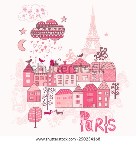 Love in Paris doodles. Street in old town graphic illustration - stock vector