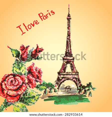 Love in Paris. Eiffel tower,lettering,pink hearts.Hand drawn watercolor decor.Vintage Vector illustration. - stock vector