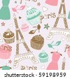 love in Paris seamless pattern - stock vector