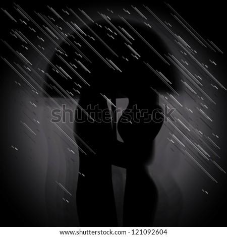 Love in the rain / Silhouette of kissing couple under umbrella - stock vector